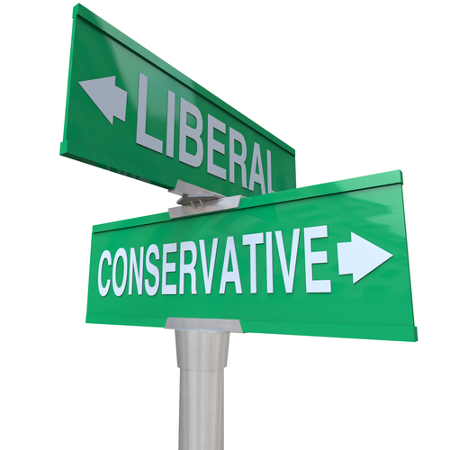 Liberal Versus Conservative Two Way Signs 2 Party System